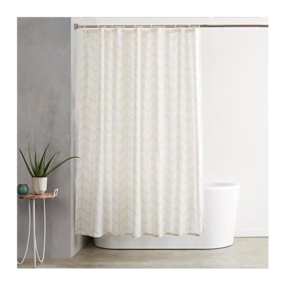AmazonBasics Shower Curtain with Hooks - 72 x 72 inches, Natural Herringbone