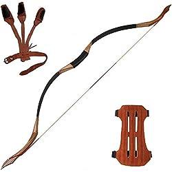 Toparchery Archery 53 '' Arc Traditionnel Arc en Bois à la Main Arc de Chasse Arc à la Main mongole à la Main 30 lbs Arc Long pour Adulte Pratique de Chasse