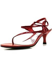 Via Uno Sandalia de la correa del dedo del pie Sandalias Piel charol Zapatos mujer