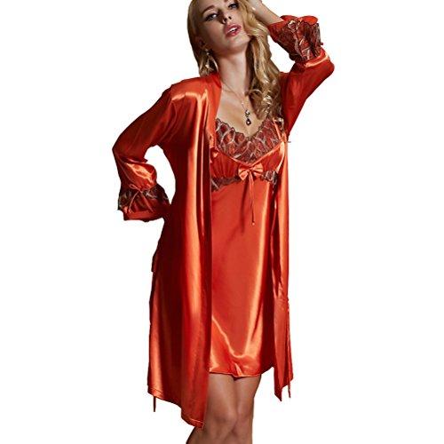 Amybria – Set pigiama con vestaglia da donna, a maniche lunghe, in pizzo di seta di alta qualità, adatto per matrimoni, disponibile in 6colori