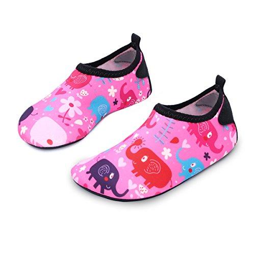 L-RUN Wasser-Schuhe für Kleinkinder Unisex Aqua Schuhe Dance Fitness Pink_red 2-2,5 = EU 34,35