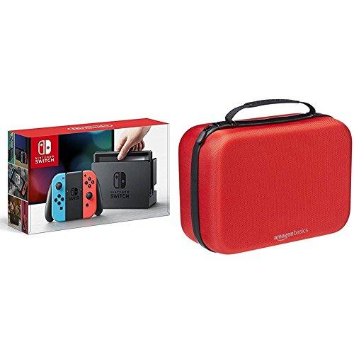 Nintendo Switch Konsole Neon-Rot/Neon-Blau + AmazonBasics - Tragetasche für die Nintendo Switch - Rot