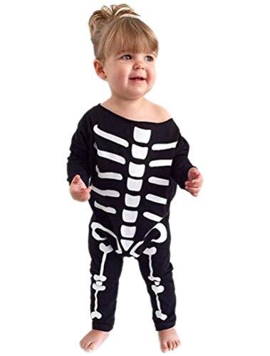 ARAUS Baby Overall Halloween Strampler Spieanzug Langarm Skelett Jumpsuit Schädel Kostüm 3-18 Monate