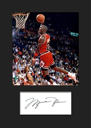 Michael Jordan | Signierter Fotodruck | A5 Größe passend für 6x8 Zoll Rahmen | Maschinenschnitt | Fotoanzeige | Geschenk Sammlerstück