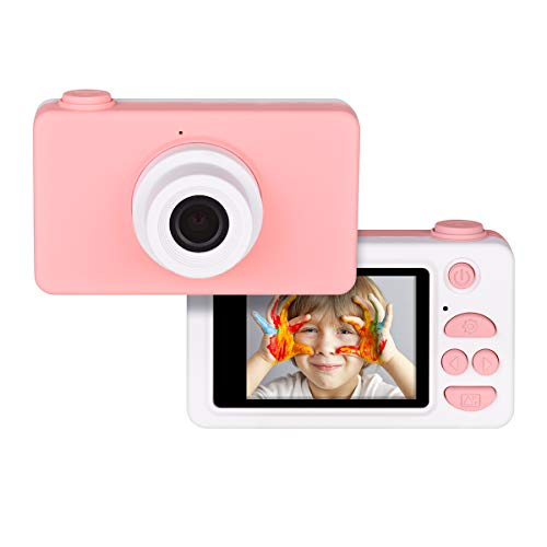 Tyhbelle Digitale Kamera für Kinder Robuste HD Kinderkamera 2,0 Zoll Farbdisplay 8 Megapixel 1080p Videokamera mit Aufklebern und USB Kabel (Pink)