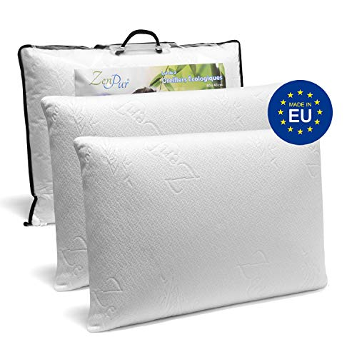 Cuscino In Memory Foam Certificato Oeko Tex.Zenpur Snoring Relief Memory Foam Pillows 2 Pack 60x40 Cm Organic Anti Dust Mite Bamboo Viscose Cover Anti Snore Pillows For Side Sleepers
