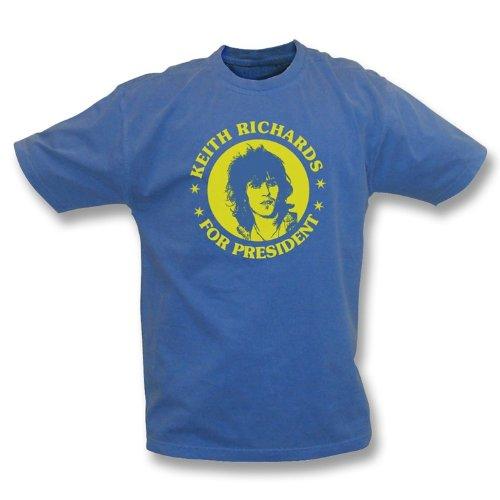 TshirtGrill Keith Richards für Präsidenten - Weinlese-Wäsche-T-Shirt Medium, Farbe- Marine-Blau (Blau Wäsche-shirt Englisch)