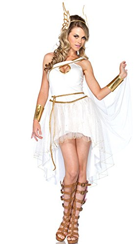 Kostüm für Damen Olympisches Kleid Sexy Griechin Antike, Langes, edles Kleid mit Pailletten-Verzierungen | goldfarbene Flügelärmel | Armmanschetten & Kopfschmuck (Griechische Göttin Kostüm Kopfschmuck)