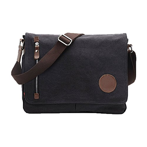 VRIKOO Vintage Canvas Satchel Messenger Bags Military Shoulder Crossbody Bag for Men Women (Black) (Leder Pocket Satchel Front)