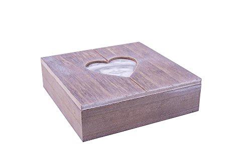 Danto® Rivanto Holz-Geschenkbox mit Herz-Bilderrahmen, Fotobox, Holzbox,Holzschatulle, Holzschachtel, Schmuckkästchen mit Herzmotiv, 20 x 20 x 6 cm