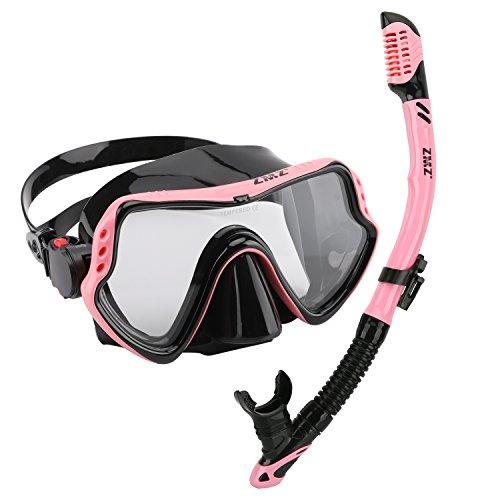 ZMZ DIVE ZMZ Tauchen/Schnorcheln-Maske Schnorchelsets, hochwertige Silikon, gehärtetes Glas und verstellbare Schnallen Tauchermaske für Erwachsene (Pink&Black) (Tauchausrüstung Maske, Schnorchel)