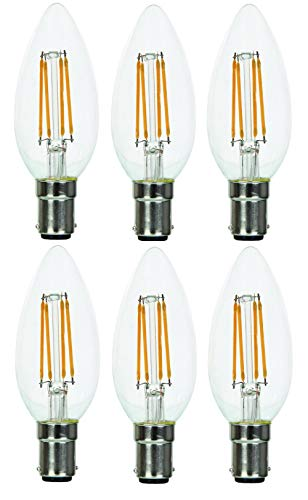 LED-Leuchtmittel, dimmbar, Kerzenform, B15 / SBC/kleiner Bajonettsockel, 4 W, Warmweiß, 2700 K, 350 Lumen, klassisches Glas-Finish, 6 Stück - Klassische Finish