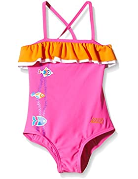 Zoggs Girls 'Sea Garden abrazaderas Bañador, niña, color Pink/Orange, tamaño 3 años