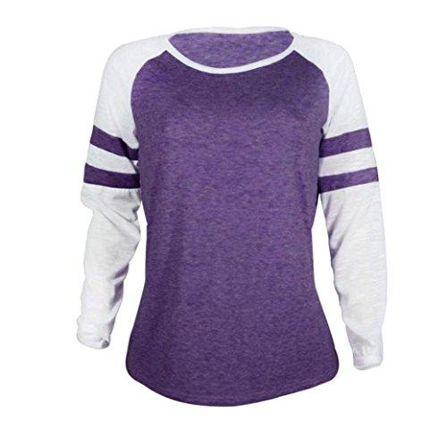 Coloré(TM) Pull Lâche Tops à Manches Longues Chemises hiver Jumper Hauts 5 Couleurs S-XL Violet