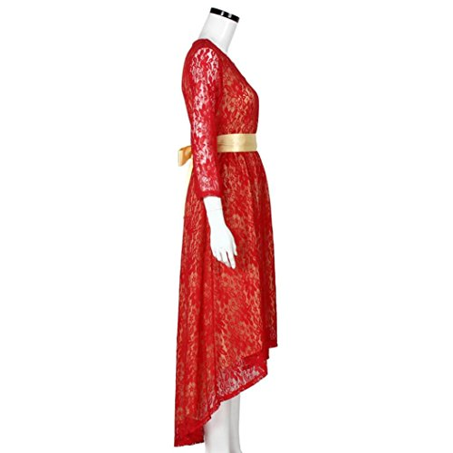 Rcool Frauen-Spitze-Abend-formale Partei-Schärpe-Kleid-Cocktail-Brautjunfer-Abschlussball-Kleid-langes Kleid Rot