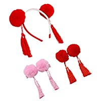 NUOBESTY 3Pcs Pom Pom Hair Clips Tassel Design Hairband Headwear Head Hoop Party Supplies for Banquet Festival New Year Party