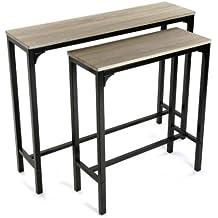 DonRegaloWeb - Juego de 2 mesas de entrada de madera y metal negro