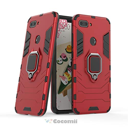 Cocomii Black Panther Armor Xiaomi Mi 8 Lite/Mi 8 Youth/Mi 8X Hülle NEU [Strapazierfähig] Metallring Ständer [Funktioniert Mit Magnetischer Autohalterung] Case Schutzhülle for Xiaomi Mi 8 Lite (B.Red)