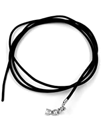 Unbespielt Chaîne de bijoux collier en cuir avec une fermeture 2mm x 100 cm noir