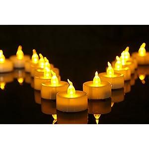 Homemory 24 LED Flammenlose Teelichter, 3.6cm Elektrische Flackernde Batteriebetriebene Kerzen, LED Votivkerzen Romantisches Gelb Teelicht (MEHRWEG)