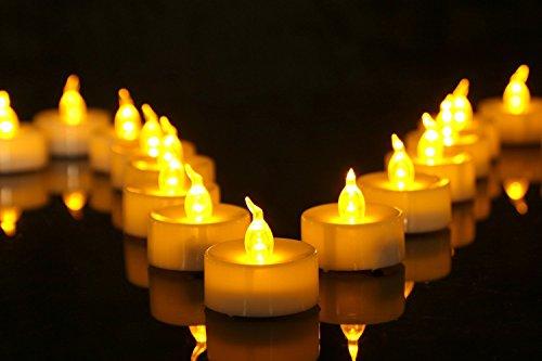 elektrisches teelicht Homemory 24 LED Flammenlose Teelichter, 3.6cm Elektrische Flackernde Batteriebetriebene Kerzen, LED Votivkerzen Romantisches Gelb Teelicht