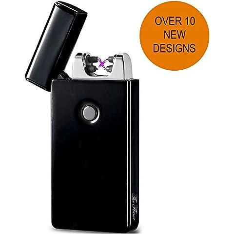 Accendino Elettrico a Doppio Arco USB -The Flame- Ricarica Veloce, Antivento Senza combustione, Resistente e Sicuro con Confezione Elegante (Nero)