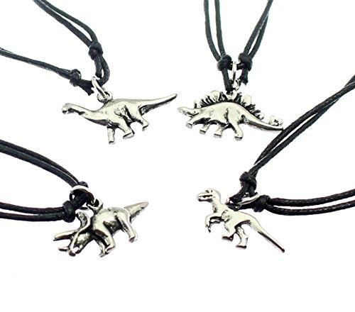 Una de plata dinosaurio colgante de metal de color negro sobre el cordón ajustable - usted recibirá un colgante única - al azar