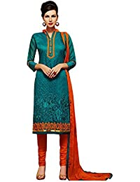 Regalia Ethnic Women's Cotton Dress Material (MFRE147_Free Size_Blue)