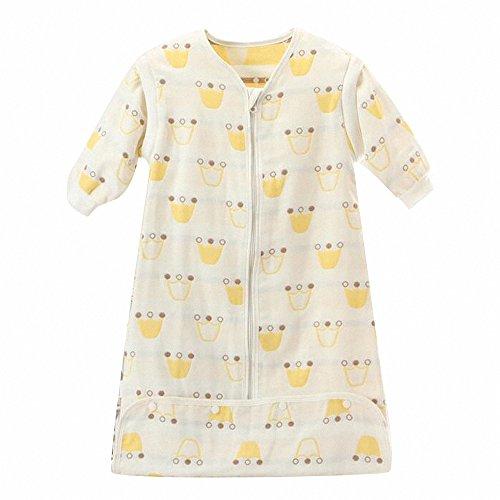 Gigoteuse bébé Manches Longues -garcon -Fille pyjama enfant toutes saisons confort combinaison à pieds Six couches de gaze(Blanc) (M:75-85CM(0-12 mois), Couronne)