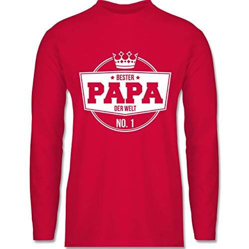 Shirtracer Vatertag - Bester Papa der Welt - Herren Langarmshirt Rot