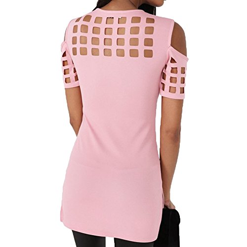 Hibote Sexy Femmes Col Rond Manches Courtes Tops Évider T Chemises Casual Chemise Blouses Pullover Rose