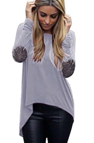 Qissy® Femme Casual Lâche Automne Col rond manches longues Épissure avec coudières T-Shirt Blouse Pullover Hauts Chemisier Gris