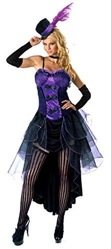 Forever Young - Damen Burlesquetänzerin-Kostüm - Mit Hut & Handschuhen - Violett - Größe - Varieté Burlesque Kostüm