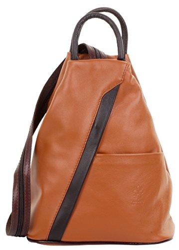 Brown Italienischen Leder Handgefertigt (Primo Sacchi ® Italienisch Soft Napa Leder Tan & Dark Brown Top handle Umhängetasche Rucksack. Inklusive Markenschutz-Aufbewahrungstasche)