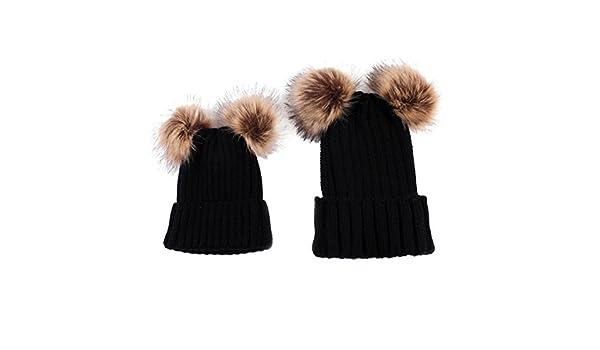 Tpulling Bonnet Bebe, 2pcs Maman bébé Tricot Pom Bobble Hat Chapeau Hiver  Chaud Bonnet (Black)  Amazon.fr  Vêtements et accessoires 2a195b38eca