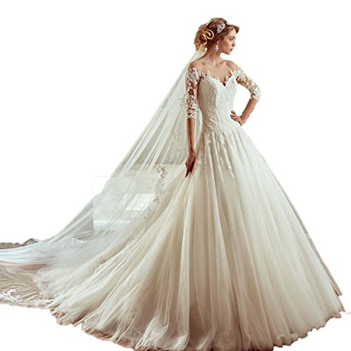 CoCogirls Prinzessin Hochzeitskleider Jahrgang O-Ausschnitt Halbe Ärmel Kapelle Zug Applikationen...
