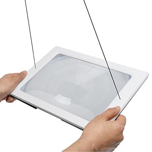 Fancii 2x große Leselupe mit LED Licht, A4 Vollbild Lupe für die Nutzung mit Handgriff, freihändig, mit Ständer oder Halsschlaufe - Lesehilfe für Senioren und zum Lesen, USB- und Batteriebetrieb - 6