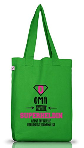 Geburtstags,- Muttertagsgeschenk Jutebeutel Earth Positive Oma - Superheldin Kelly Green