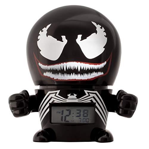 BulbBotz Marvel 2021715 Venom Kinder-Wecker mit Nachtlicht und typischem Geräusch   schwarz/rot   Kunststoff   Höhe: 14Zentimeter   LCD-Display   Junge/Mädchen   offiziell (Venom-kopf)