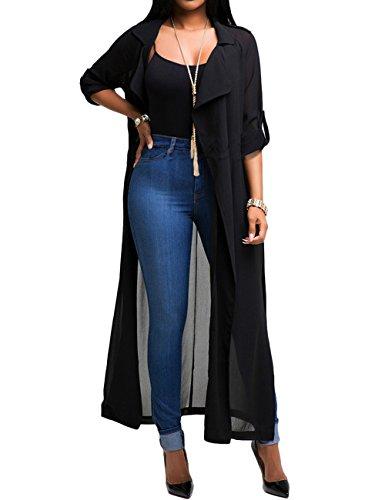 AJ FASHION -  Cardigan  - Basic - Maniche lunghe  - Donna Black