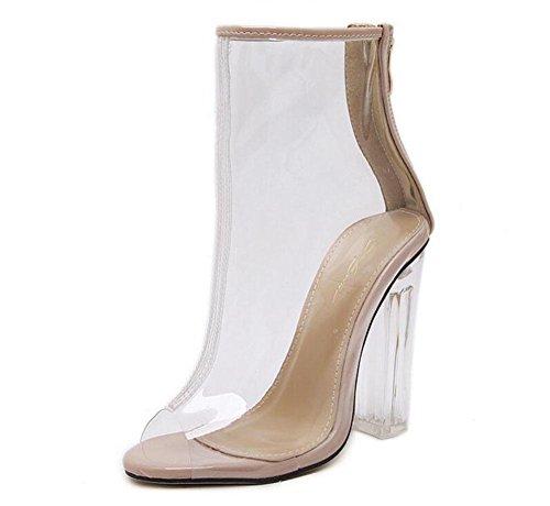 GLTER Donne Cinturino di Pompe Open-Toe Tacchi Classic Glass Film Tacchi alti sandali spessi Zipper Scarpe trasparente 35-40 UE apricot