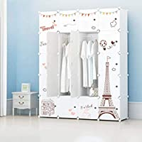 Xinyexinwang Portable Closet Closet, Modular Storage Cabinet, Space-Saving Combination Wardrobe, Half-Turn Design with Boom, Ideal Storage Management Cubic Wardrobe (183 * 47 * 147CM)
