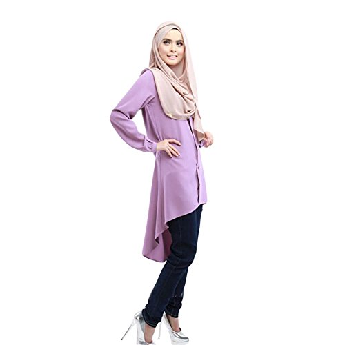 Meijunter Musulman Femme Manche longue Large Yards Loose Chemise Robe Abaya Habits purple