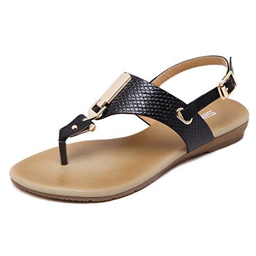 GS~LY Geschenk der Mutter Tages Einfache und große flache Sandalen, Europäischen und Amerikanischen Badeschuhe Black