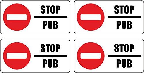 """Preisvergleich Produktbild Set 4x Briefkasten-Aufkleber """"Stop Pub"""" (Keine Werbung)"""