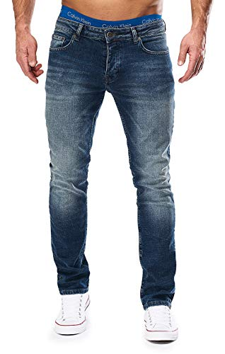 MERISH Jeans Herren Destroyed Hose Used-Look Jeanshose Männer Denim 2081-1001 (33-32, 1001 Dunkelblau)