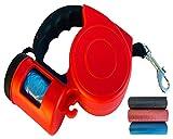TurnerMAX Outdoor einziehbare Hundeleine Leine mit Tasche Spender Ausziehbar Weiches Gummi Griff Kordel und Klebeband 3M