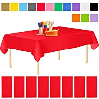 Aneco 8 Pack Disposable Tablecloths Plastic Tablecloths 54 x 108 Inch Disposable Rectangle Table Cloths Table Covers for Indoor or Outdoor Parties Birthdays Weddings Christmas (Red, 54 x 108 Inches)