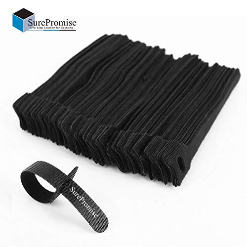 Surepromise 100 Schwarz Kabel-Klettband Kabelklett Kabelbinder Klettbinder Klettverschluss Büro -