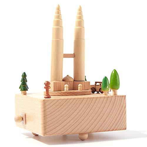 YUJIE Spieluhr,Pure Hand Twin Towers Spieluhr Souvenir Antik Geschnitzte Hand-Holz Spieluhr Kreative Holz Handwerk Geburtstag Mädchen Freund